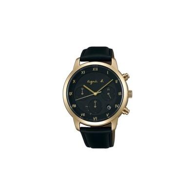 アニエス b ソーラークロノグラフメンズ腕時計マルチェロシリーズ FBRD941  ブラックフェイスにシャンパンゴールド色のケース
