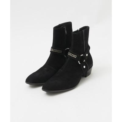 ブーツ ブラックスエードリングブーツ