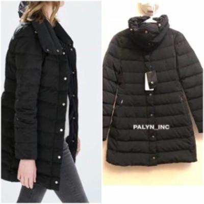 ファッション 衣類 NWT ZARA LONG DOWN JACKET WITH WRAP COLLAR COAT 0518/257_XS S