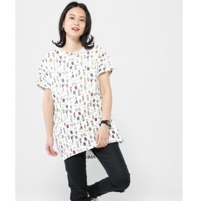 tシャツ Tシャツ 【POWER TO THE PEOPLE】総柄プリント半袖オーバーTシャツ