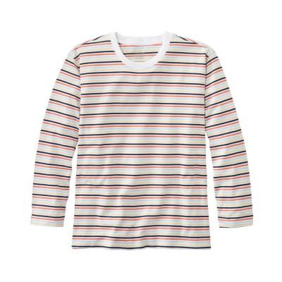 サタデーTシャツ、クルーネック 7分丈袖 ストライプ