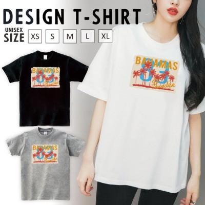 Tシャツ レディース 半袖 トップス ブランド ユニセックス メンズ プリントTシャツ ペア 夏 ヤシの木 ハワイ ロゴ ナンバー 83 パラダイス
