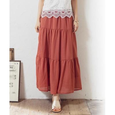 【グローウィングリッチ】 [スカート]ガーゼティアードスカート[200343] レディース オレンジ M GROWINGRICH