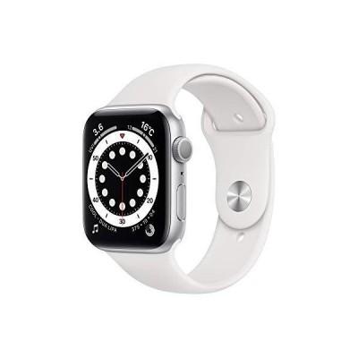 最新 Apple?Watch Series 6(GPSモデル)- 44mmシルバーアルミニウムケースとホワイトスポーツバンド