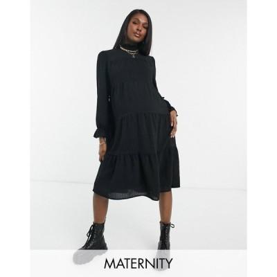 ピーシーズ マタニティ レディース ワンピース トップス Pieces Maternity midi dress with high neck and tiered skirt in black Black