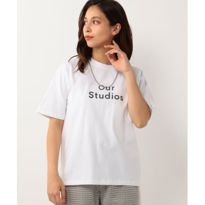 【アンレリッシュ】 クルーネックロゴプリントTシャツ レディース シロ M UNRELISH