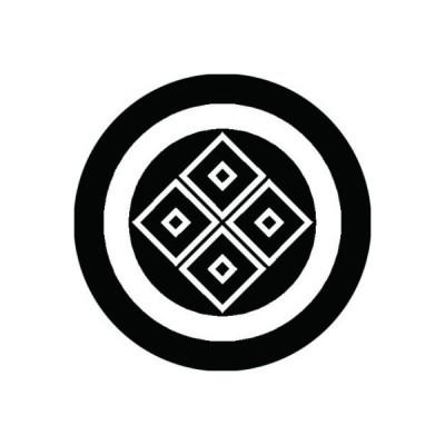 家紋シール 白紋黒地 丸に陰四つ目 布タイプ 直径23mm 6枚セット NS23-0449W