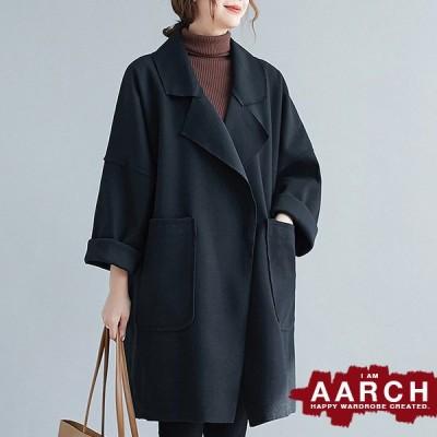 大きいサイズ レディース ファッション コート アウター ぽっちゃり おおきいサイズ 対応 オーバーサイズ 切りっぱなし チェスターコート M L LL 3L 4L 秋冬