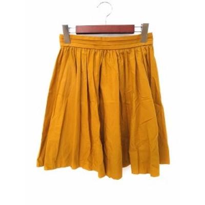 【中古】LAPIS LUCE PER BEAMS ギャザー スカート 36 S マスタード コットン ミニ 無地 シンプル ウエストゴム