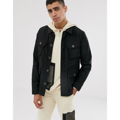 エイソス ジャケット メンズ ASOS DESIGN lightweight utility jacket in black エイソス ASOS ブラック 黒