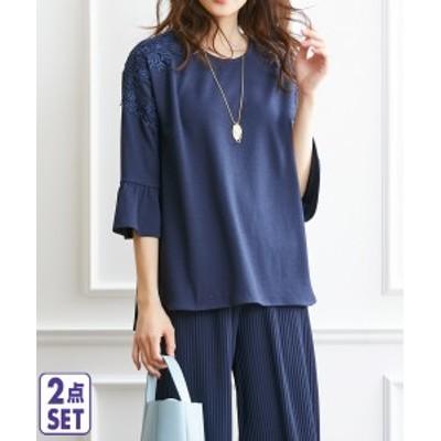 Tシャツ カットソー 大きいサイズ レディース 2点セット チュニック + プリーツ パンツ ネイビー LL/3L/4L/5L ニッセン nissen