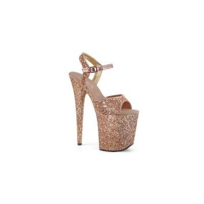 サンダル プラットフォーム 厚底  8インチ 約20cm 台 PLEASER Rose Gold Glitter/Rose Gold Glitter グリッター 厚底サンダル お取り寄せ商品