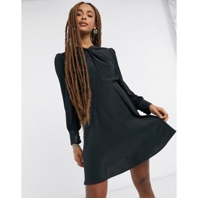 トップショップ Topshop レディース ワンピース ミニ丈 ワンピース・ドレス twist neck mini dress in black ブラック