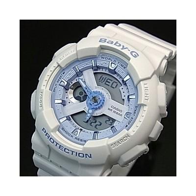 CASIO Baby-G カシオ ベビーG Beach Colors ビーチ・カラーズ レディース腕時計 ホワイト/ライトブルー 海外モデル BA-110BE-7A