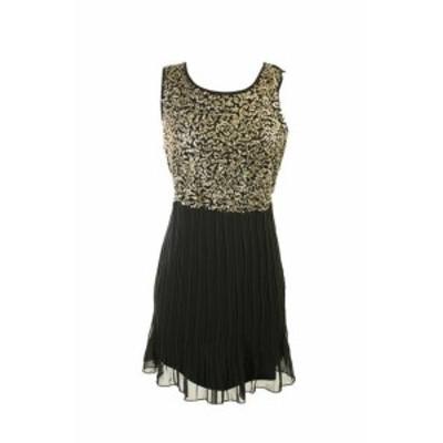 Gold ゴールド ファッション ドレス Maison jules new black gold sleeveless sequin pleated dress