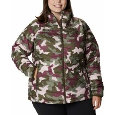コロンビア レディース ジャケット・ブルゾン アウター Plus Size Powder Lite Camouflage Quilted Puffer Jacket Medium Green