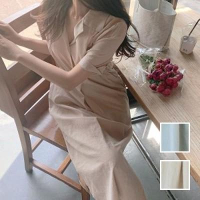 韓国 ファッション レディース ワンピース 春 夏 新作 カジュアル naloI869  ペールカラー シャツワンピ オープンカラー シンプル コーデ