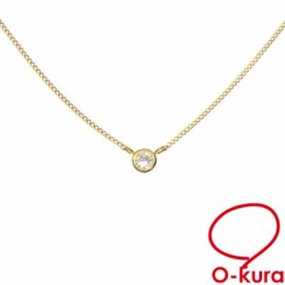 中古 ダイヤモンド ネックレス レディース K18YG 0.11ct 1.6g 750 18金 イエローゴールド