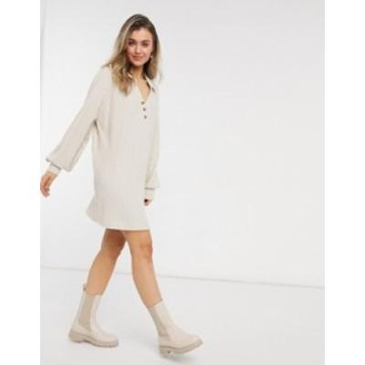 エイソス レディース ワンピース トップス ASOS DESIGN super soft ribbed long sleeve shirt dress in stone Stone