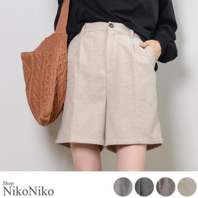 ShopNikoNiko ヘリンボーンハーフパンツ ズボン パンツ ボトムス ヘリンボーン 大人 かわいい シンプル トレンド 韓国ファッションレディース グレー フリー レディース