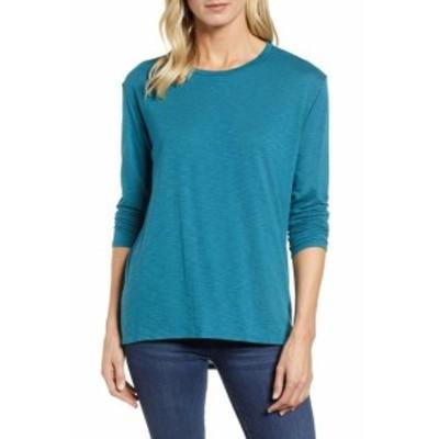 ファッション トップス Caslon NEW Blue Womens Size Small S High Low Scoop Neck Tunic Knit Top