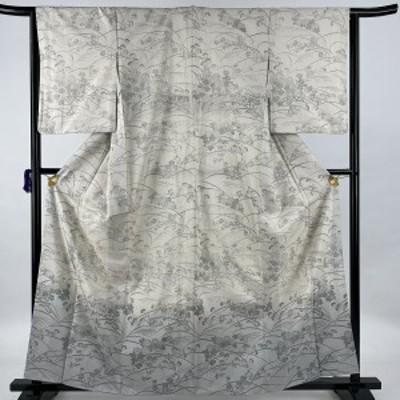 【在庫一掃】 訪問着 美品 名品 紬地 秋草文 ぼかし 灰白 袷 身丈162cm 裄丈65.5cm M 正絹 中古