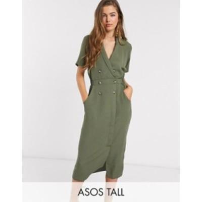 エイソス レディース ワンピース トップス ASOS DESIGN Tall tux midi dress in khaki Khaki