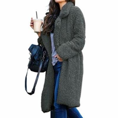グレー  ふわもこコート カジュアル ジャケット 大人上品 冬アウター 暖か 長袖 大人可愛い 防寒 スタイリッシュ フェミニン 美シルエッ
