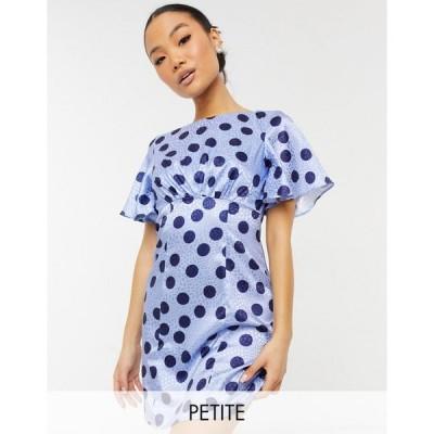 チチロンドン ミディドレス レディース Chi Chi London Petite spot mini dress in blue エイソス ASOS ブルー 青