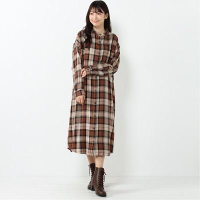 【nojean】椿オイル加工バンドカラーチェックワンピース(ノージーン/NO JEAN)