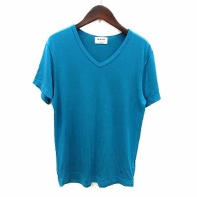 【中古】プラステ PLST Tシャツ カットソー Vネック 半袖 ワンポイント M 青 ブルー /MS レディース