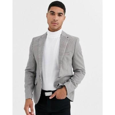 リバーアイランド River Island メンズ スーツ・ジャケット アウター blazer in black check ブラック