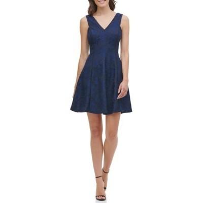 ケンジー レディース ワンピース トップス Bonded Lace V-Neck Fit & Flare Mini Dress NAVY/BLACK