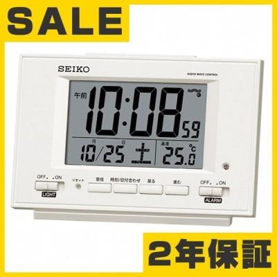 目覚まし時計 おしゃれ セイコー(SEIKO) 置き時計 目覚まし時計 電波時計 SQ778W デジタル 常時点灯 カレンダー 温度計
