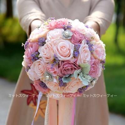 ウエディングブーケ 二次会 可愛い 結婚式 ウェディングブーケ 花嫁 ブーケ 披露宴 ウェディング用 造花 ブライダルブーケ 手作り ローズ パール 大きいサイズ