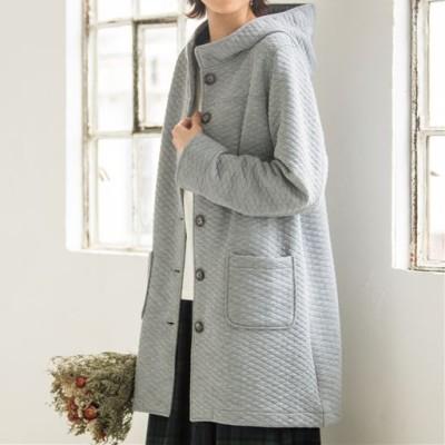 綿混素材のキルティングコート/ナチュラルグレー/S