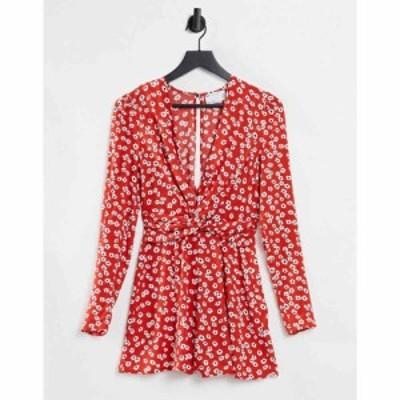 エイソス ASOS DESIGN レディース オールインワン プレイスーツ ワンピース・ドレス Twist Front Long Sleeve Playsuit In Poppy Print