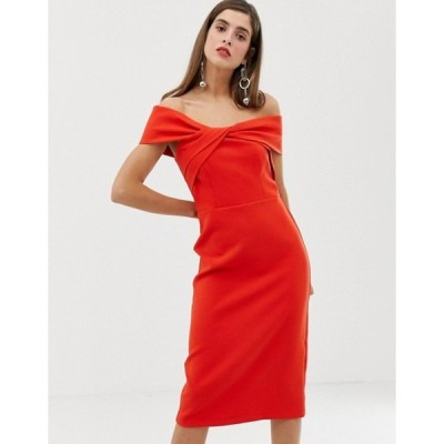 リバーアイランド レディース ワンピース トップス River Island off the shoulder bodycon dress in red