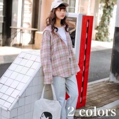 チェック 柄 フード 付き カジュアル シャツ レディース 春 秋 長袖 韓国 ファッション 大人 の 可愛い おしゃれ トップス 羽織 前開き