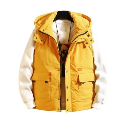 メンズ 中綿ベスト 秋冬 フード付き 厚手 防寒 防風 暖かい 日系 おしゃれ かっこいい ダウンベスト 大きいサイズ ゆったり