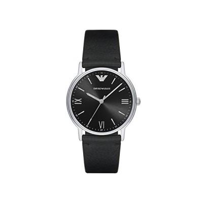 Emporio Armani Men's AR11013 Black Leather Quartz Dress Watch【並行輸入品】