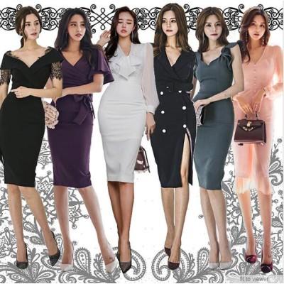2020新品韓国ファッション春服/レディースファッション/ワンピース 韓国/ワンピース 春/OL正式な場合/礼装ドレス/側開深いVネック/オフショル/正式な場合/礼装ドレス/やせて見える/
