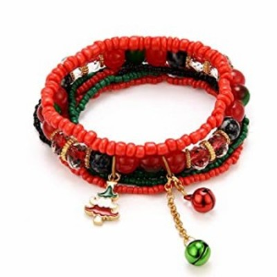 MengPa Beaded Bracelets for Women Girls Bohemian Stretch Stackable layering Strand Statement Jewelry (Red&Christmas tree) G4491