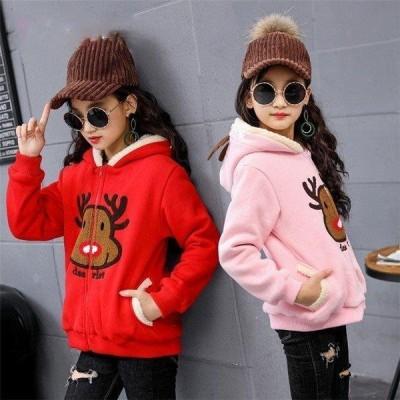 韓国子供服 女の子 アウター 裏起毛 ボアコート 裏ボア ジャケット ブルゾン プリント長袖コート 暖かい 防寒