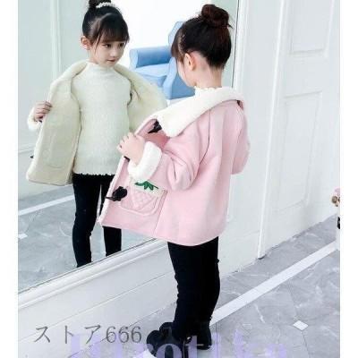 コート 2021 ロングコート 襟付き ラシャコート 大きいボタン 子供服 アウター 裏ボア ジャケット チェスターコート 冬服 女の子 ベビージャケット 裏起毛