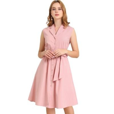 uxcell Allegra K 中シャツワンピース ドレス ノースリーブ 水玉 オフィス レディース ピンク XS