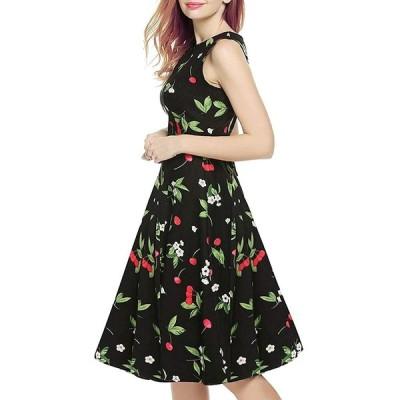 ドレス ワンピース Aライン ノースリーブ 花柄 リボンベルト付 パーティー 結婚式 人気 26色 並行輸入品