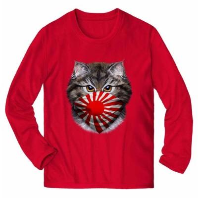 【サイベリアン ねこ 日本 JAPAN バンダナ】メンズ 長袖 Tシャツ by Fox Republic