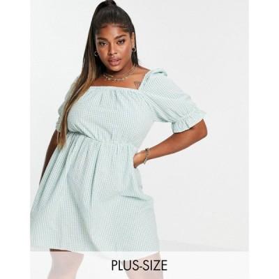 オンリーカーブ Only Curve レディース ワンピース ミニ丈 mini dress with square neck and puff sleeve in green gingham グリーンチェック