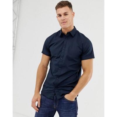 ジャック アンド ジョーンズ メンズ シャツ トップス Jack & Jones stretch cotton short sleeve shirt in navy Total eclipse